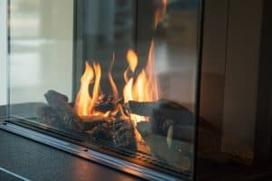 gas fireplace glass is foggy
